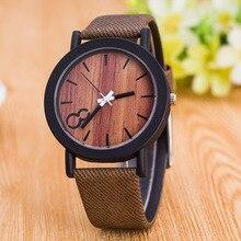 Classique Bois De Mode D'impression En Cuir Quartz Hommes Femmes Dames Montres-bracelets Cadeau Noir Brun 6 Couleurs