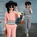 Conjuntos de Roupas meninas Manga Longa Listrada T-shirt & Calças Para Meninas Crianças de Algodão fatos de Treino Primavera Outono Roupa Dos Miúdos 3-14Y