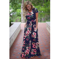 Новинка 2019 лето осень женская одежда халат платья с коротким рукавом цветочный принт большой размер длинное платье плюс размер 2XL 3XL Vestidos