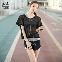3 Pieces Women's Yoga Set  High Quality Gym Fitness Sexy Yoga Sets See-Through Elastic  Breathable Solid  Running Sets  T016