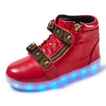 Metal Decorative Luminous Casual Kids Shoes Zipper Lamp Glowing Sneakers USB Charging LED Light Kids Shoes Fashion Boys $Girls