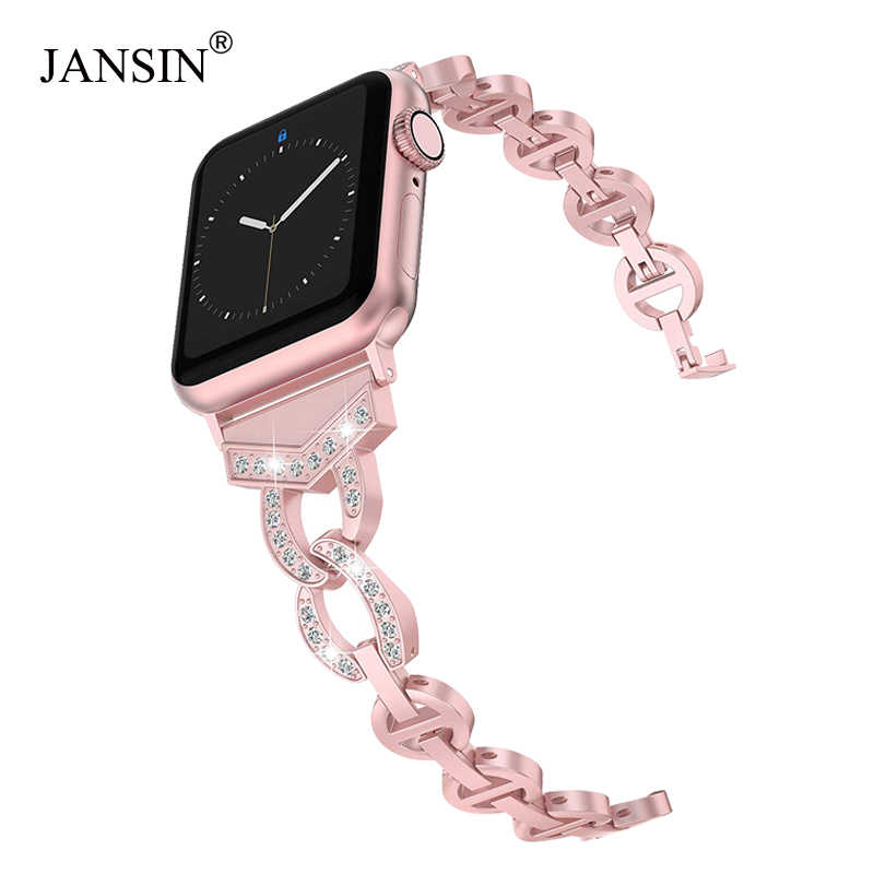 Diamond Stainless Steel strap For Apple Watch band 38mm 42mm 40mm 44mm Bracelet woman watchband for iWatch Series 4 3 2 1 belt