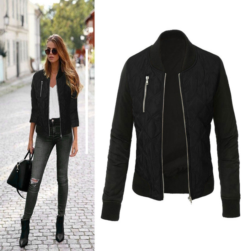 2019 Autumn Winter Europe And America Fashion Zipper Quilted Personality Small Coat Dropshipping