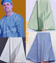 Light blue polish cotton lace for men African voile lace Swiss fabric High quality 5 yards per piece Hot sale