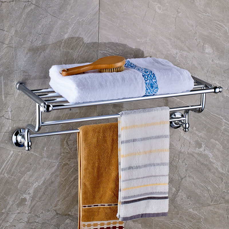Luxury Bathroom Bath Towel Rack Double Towel Bar Chrome Finish Bathroom Towel Holder Wall Mounted aluminum wall mounted square antique brass bath towel rack active bathroom towel holder double towel shelf bathroom accessories