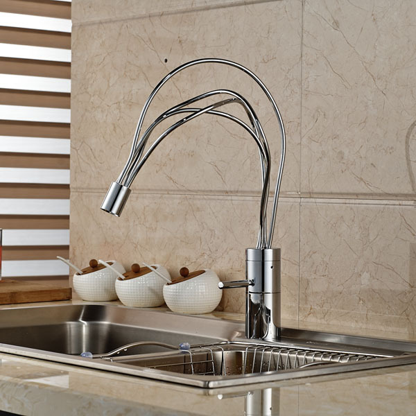 US $74.69 41% OFF|Bird Nest Kitchen Sink Faucet Deck Mount Hot and Cold  Mixers Water Faucet Chrome Finish-in Kitchen Faucets from Home Improvement  on ...