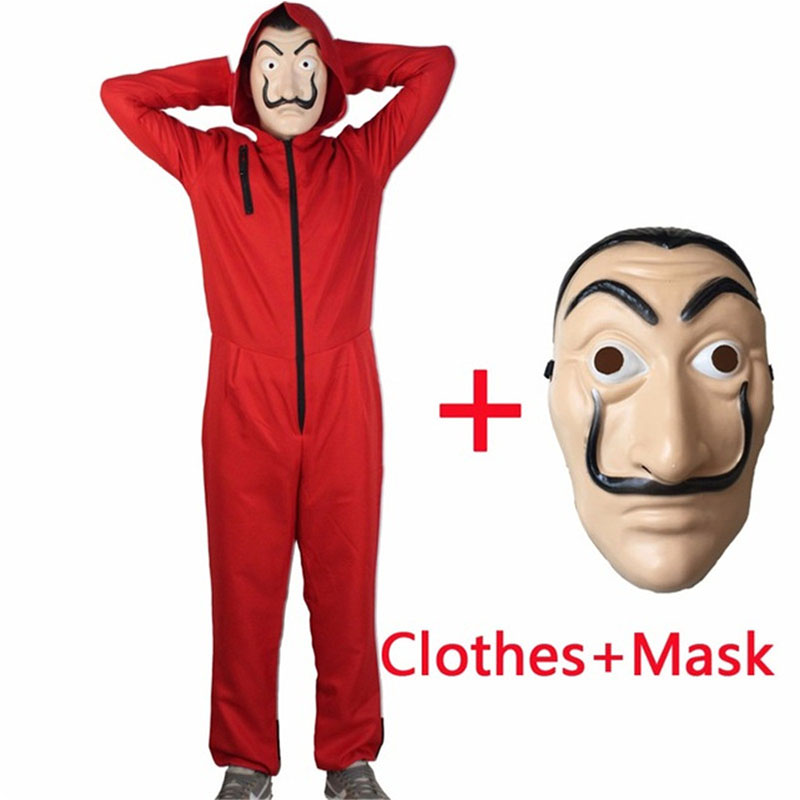Salvador Dali Cosplay Movie Mask Money Heist The House of Paper La Casa De Papel Cosplay Costume + Face Mask