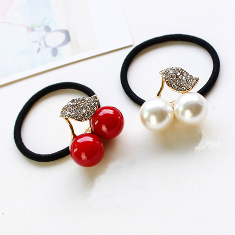 Red White Simulated Pearl Crystal Leaf Cherry Elastic Hair Rubber Bands Girls Hair Accessories for Women Headwear пуф dreambag круг cherry