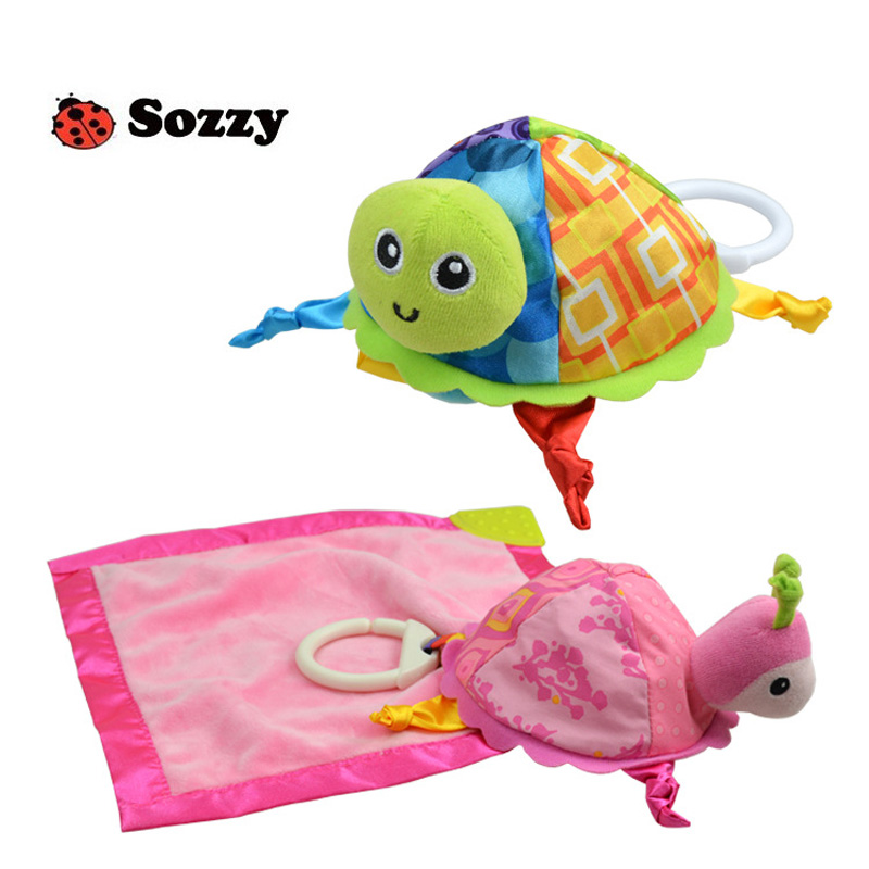 Sozzy Infant Appease Towel Baby Rattle For Crib Stroller Hanging Pacify Comforting Teether Dolls Pinafore Turtle Toy