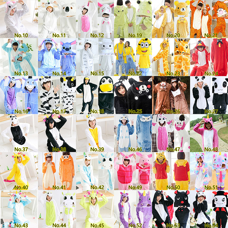 64 Styles 2019   Pajamas     Sets   Flannel Cute Animal   Pajamas     Sets   Winter Flannel Nightie Cosplay Pyjamas Sleepwear kigurumi Cosplay