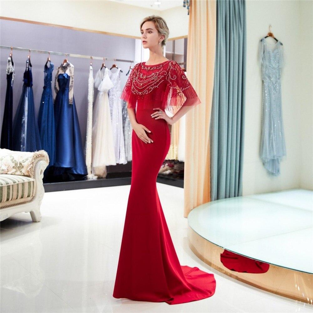 2019 nouvelle robe de bal longue sirène rouge avec perles Top femmes élégante robe de soirée formelle - 3