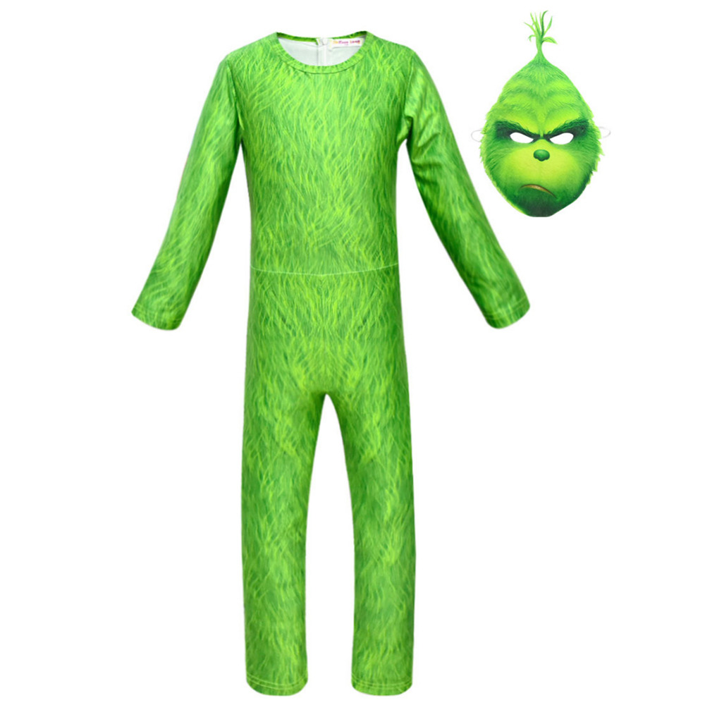 The Grinch Jumpsuit Cosplay Costume Kid child Grinch cosplay Jumpsuit Mask Costume Outfit