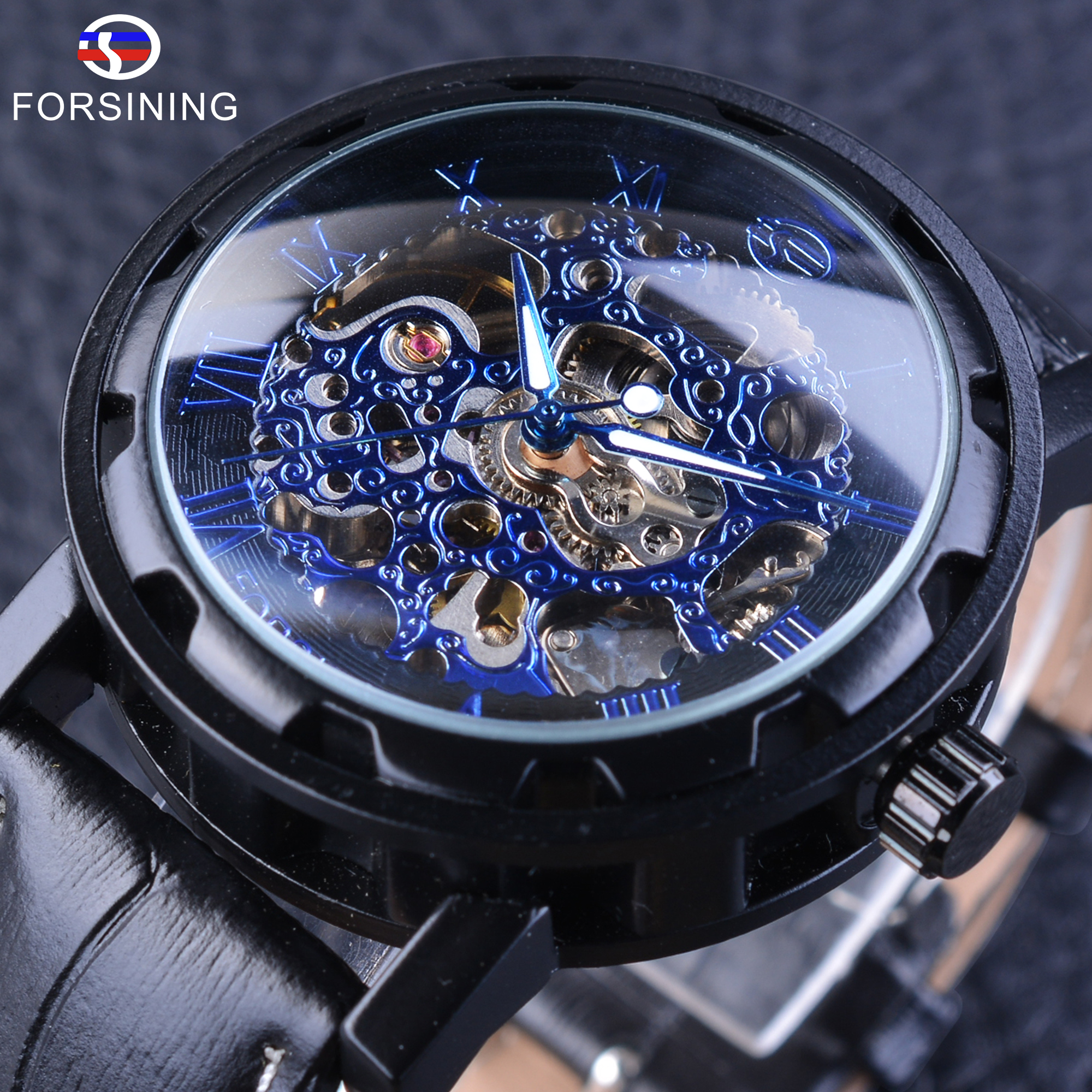 Forsining Men's Mechanical Watch Blue Black Skeleton Dial Automatic Self-wind Movement Genuine Leather Fashion Gear Bezel Design new arrivel white dial mens automatic skeleton mechanical watch with two movement freeship