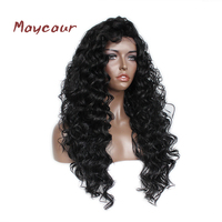 Top Quality Heat Resistant Synthetic Fiber Hair Wigs Long Loose Curly Lace Front Wig Natural Hairstyle