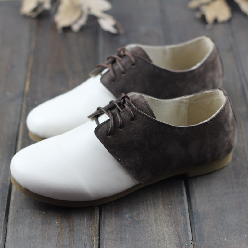 Women Shoes Genuine Leather Woman Flat Shoes Round toe Lace up Nurse Shoes Casual Ballet Flats (1688-5) 2018 new genuine leather flat shoes woman ballet flats loafers cowhide flexible spring casual shoes women flats women shoes k726