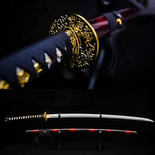 hand made full tang carbon steel flora tsuba rayskin Practical Katana Japanese Samurai Sword hardwood saya laito