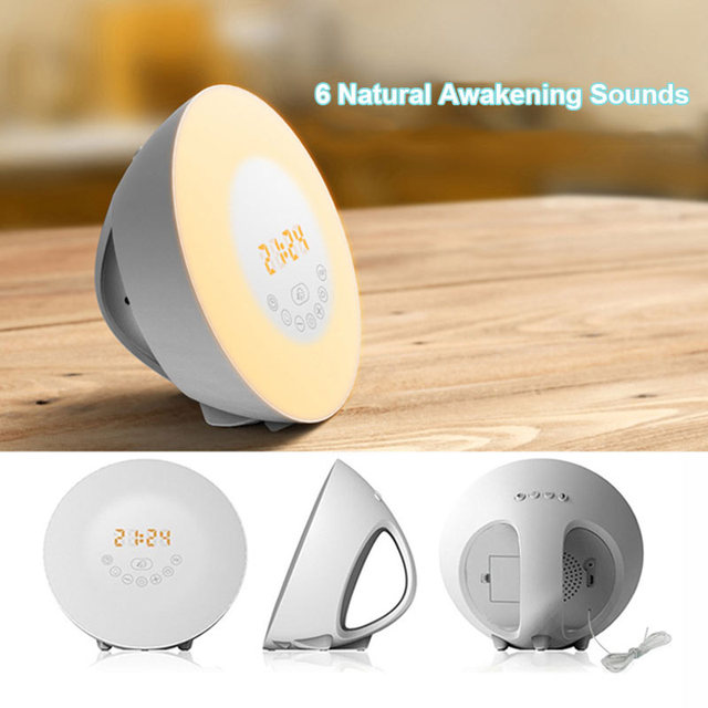 Alarm Clock Wake Up Led Light Lamp With Snooze Fm Radio Bluetooth Handsfree Twilight Lights