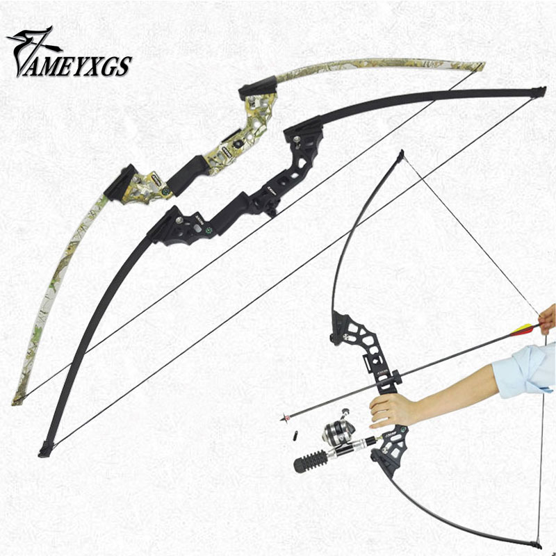 40lbs Fishing Bow CNC Alloy Riser Arcehry Hunting Straight Long Bow Outdoor Shooting Fish Bowfishing Kit