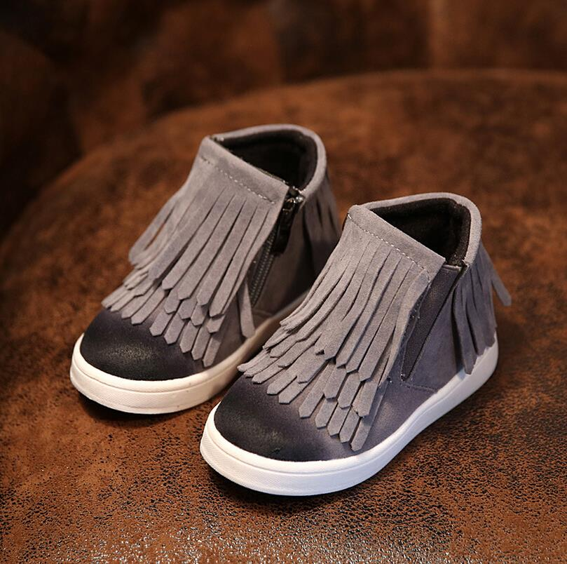 New Spring Autumn Winter for child/kid/girl boots waterproof leather motorcycle boots fashion flats shoe fringe zip martin boots