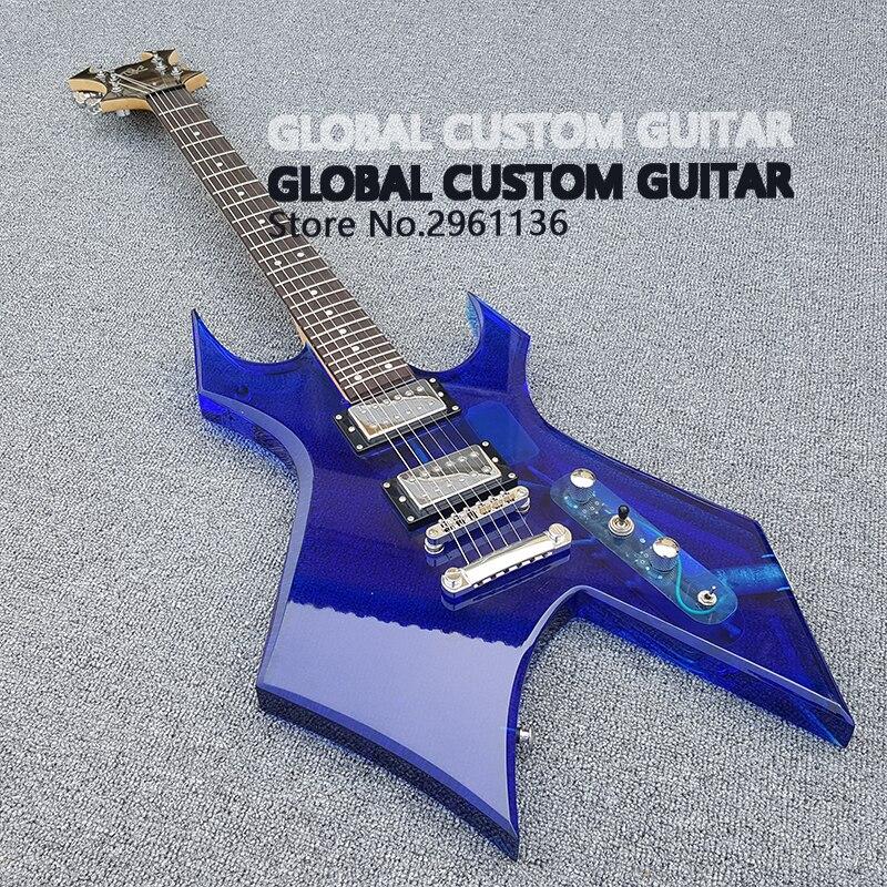 New Acrílico guitarra Elétrica Pickguard azul Branco Transparente, acrílico Body & Fingerboard com DIODO EMISSOR de Luz, Guitarra, atacado