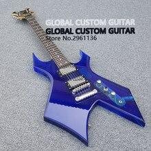Новая акриловая электрогитара сине-белая прозрачная накладка, акриловый корпус и гриф с светодиодный подсветкой, гитара ra, оптовая продажа