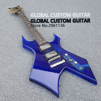 New Acrylic Electric guitar blue White Transparent Pickguard, Acrylic Body & Fingerboard with LED Light, Guitarra, Wholesale