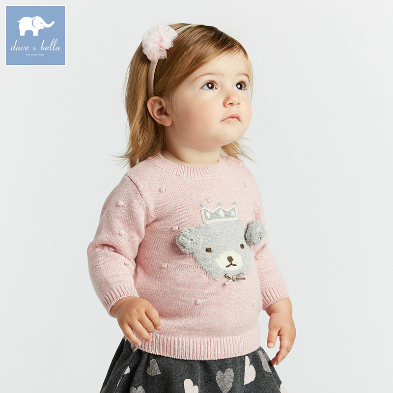 DB8435 dave bella autumn knitted sweater infant baby girls long sleeve pullover kids toddler tops children