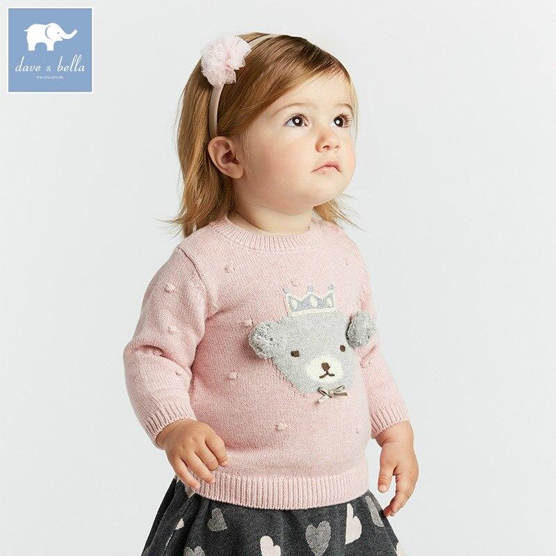 DB8435 dave bella jesień sweter z dzianiny niemowląt dziewczynek z długim rękawem swetry dla dzieci maluch topy dzieci sweter z dzianiny w Swetry od Matka i dzieci na AliExpress - 11.11_Double 11Singles' Day 1