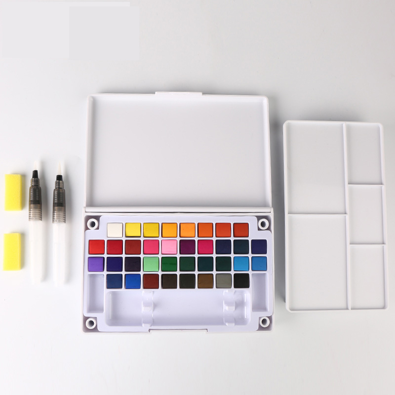 18/24/36 Colors Pigment Solid Watercolor Paints Set Professional Box With Paint Brush Watercolor Pigment Set Art Supplies aluminum alloy water drop shaped cake