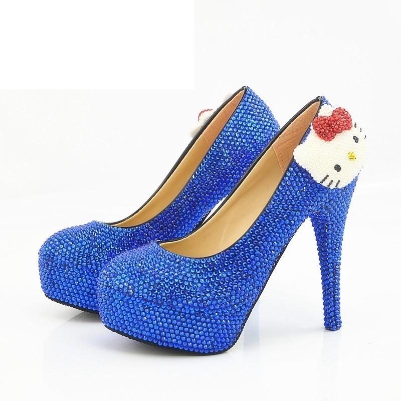 Royal Blue Rhinestone Hello Kitty Wedding Shoes Wholesale Price Stiletto  Heel Bridal Dress Shoes Fashion Graduate 94734dea6400