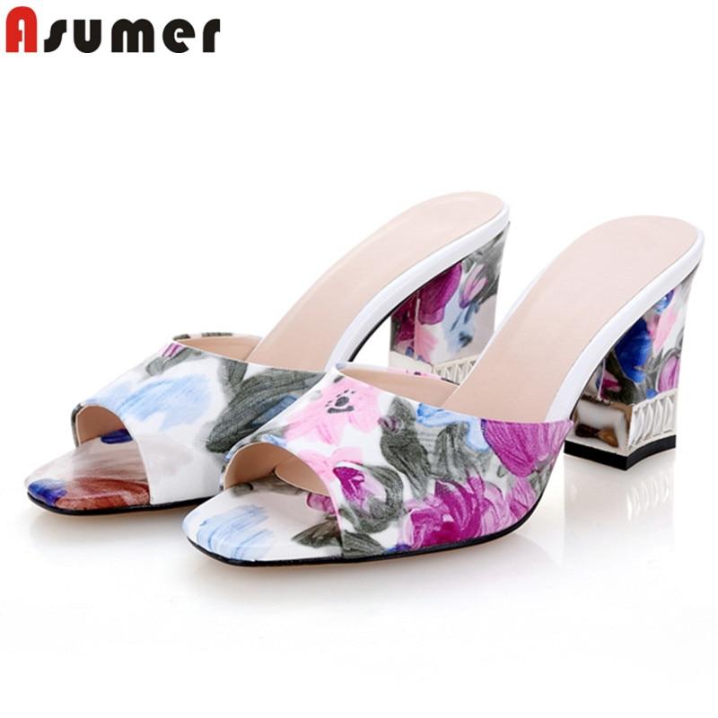 ASUMER Elegant Sandals Shoes Big-Size Shallow High-Heels Peep-Toe Fashion Women New 34-42