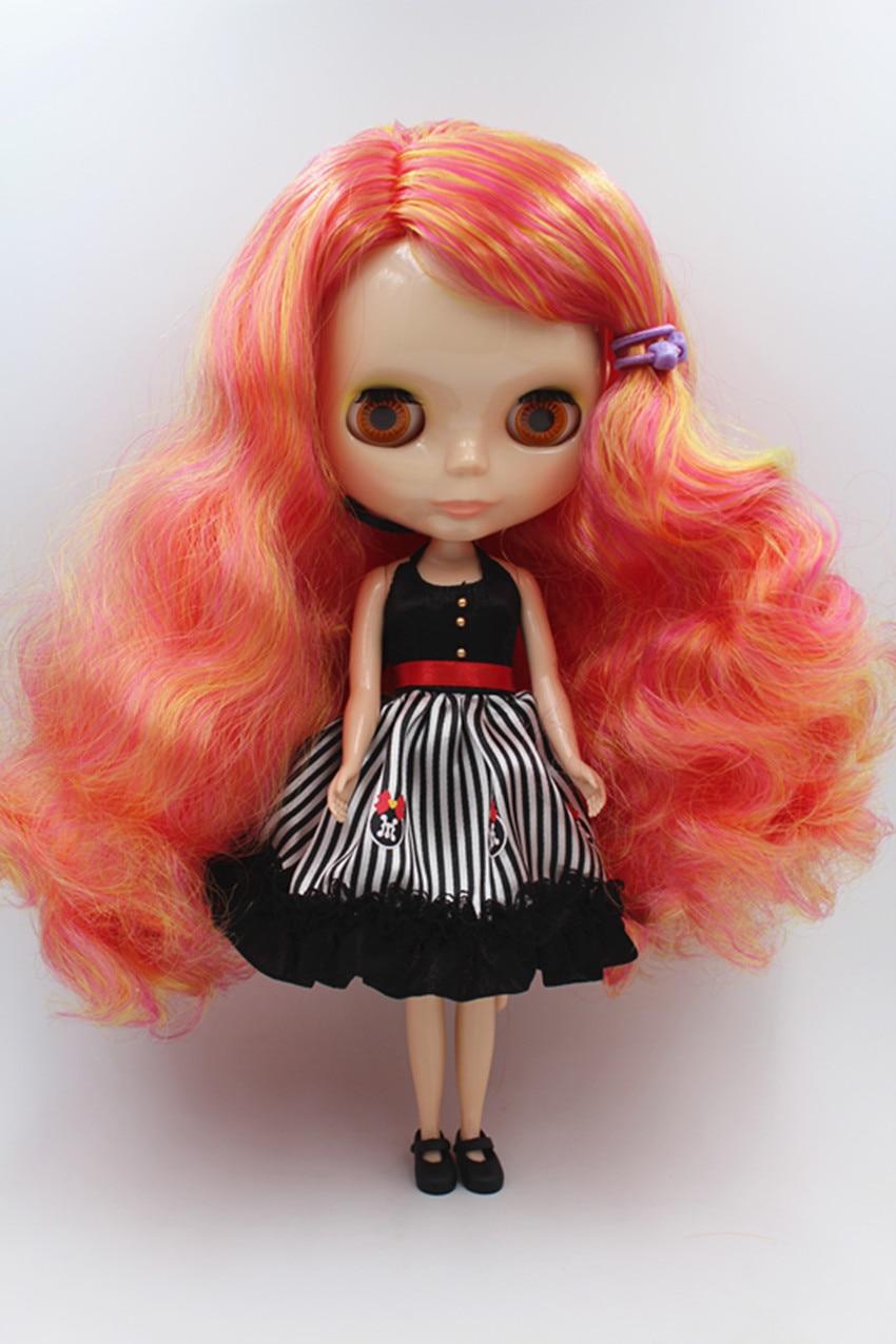 Blygirl Doll Jaukta krāsu ruļļa matu Blyth body Doll Fashion var mainīt grims