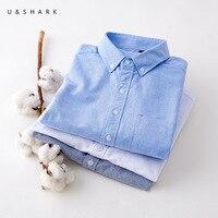 U & SHARK 2017 Nouveau 100% Coton Oxford Chemise Hommes À Manches Longues Casual chemise Masculine Facile Correspondant Simple Chemise Sociale Blanc Gris Bleu rouge