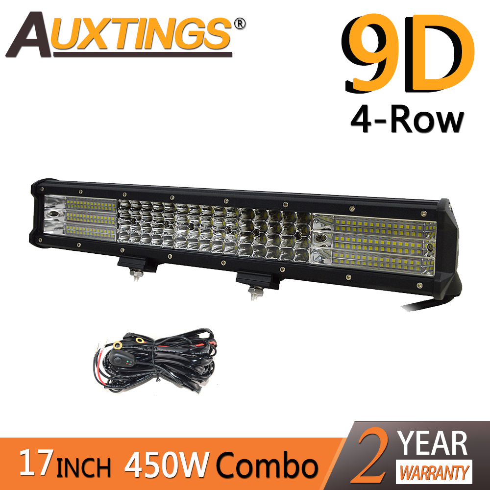 Auxtings 17inch 450w 17'' Quad Rows Movable Bracket Led Work Light  High Power 9D LED Light Bar Offroad 4x4 Car Light 12V 24V