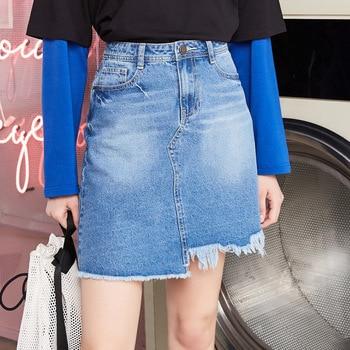 MetersBonwe Denim Skirt High Waist A-line Mini Skirts Women Frayed Irregular skirt 2019 Summer New Arrivals 1