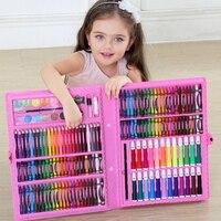 168 шт. канцелярские принадлежности для детей набор инструментов для рисования коробка акварельные карандаши для рисования маркерная ручка ...