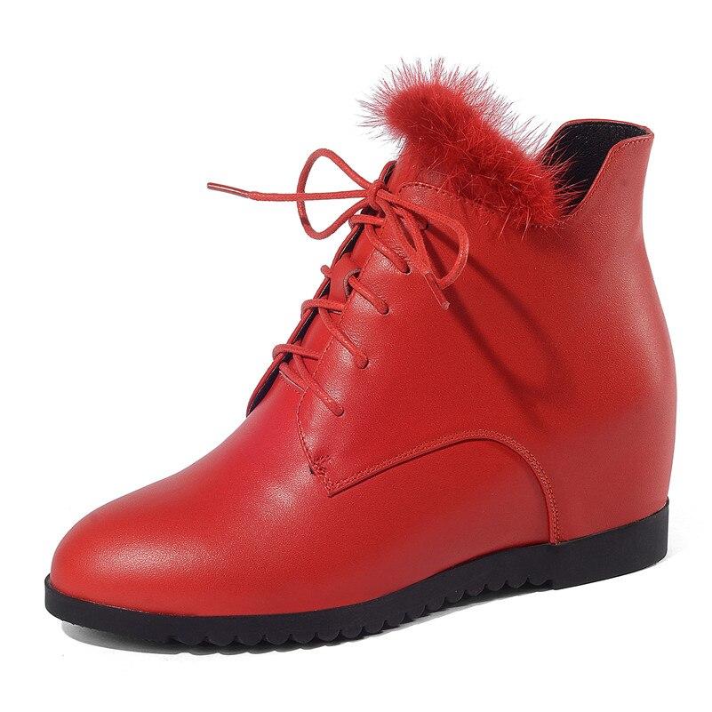 Hiver Femmes Automne Hauts Chaud Martin Chaussures Mode Pompes Cheville De Noir Courtes Plates rouge Femme Talons Fedonas Bottes Coince Nouvelles formes SAj54Rc3Lq