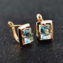 Free Shipping Rectangle Blue Crystal Gold Colour Earrings Ring Set T126
