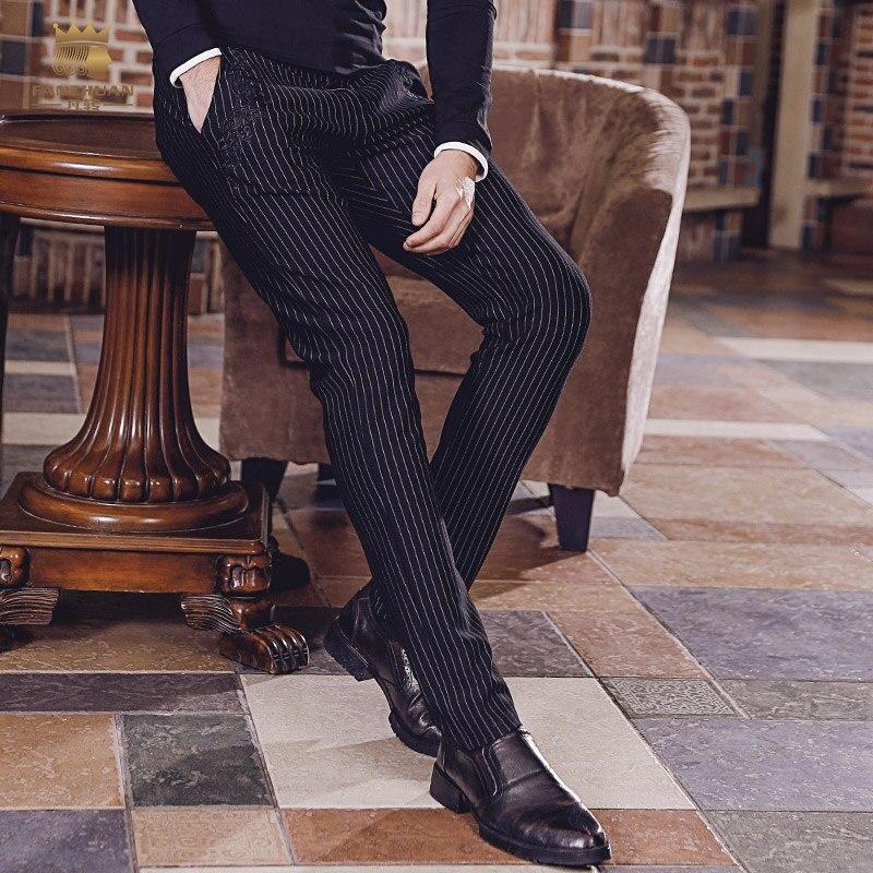 Fanzhuan 무료 배송 새로운 바지 패션 남성 남자 2018 남자 바지 비즈니스 캐주얼 바지 스트라이프 바지 모든 일치 818004-에서스키니 바지부터 남성 의류 의  그룹 1