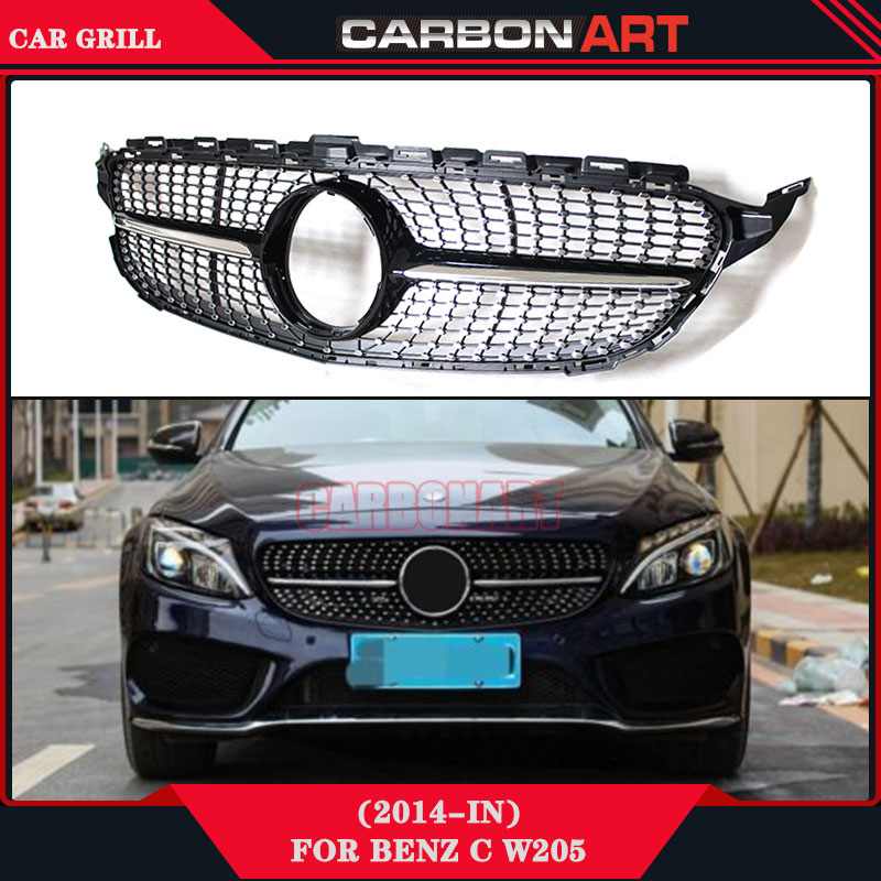W205 Diamond Grille New C Class Sport Edition Auto Bumper Parts For Mercedes 2015 2016 C180 C200 C350 C400 C450 C220 C250 C300 2015 2016 amg style w205 carbon fiber rear trunk spoiler wings for mercedes c class c180 c200 c250 c300 c350 c400 c450 c220