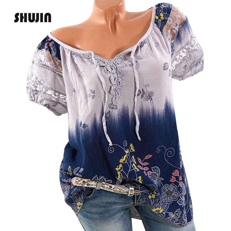 SHUJIN 2018 Casual Short Sleeve Women   Blouse   Summer Vintage Print Lace Loose   Shirts   Female Bohemian Plus Size 5XL Blusas Top