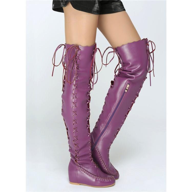 Purple Cuero Mujer De Por Encima Planos Damas Hasta Verano Primavera La 2019 Botas Zapatos Correas Encaje Rodilla Cruz Púrpura dUwYII