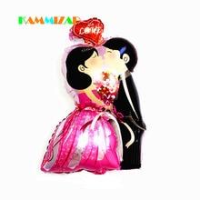 Wedding Balloons Bridegroom Kiss Bride Rose Romantic Engagement Helium 50pcs/lot Aluminium Foil Balloon Flower Party Decoration