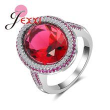 JEXXI Women Brand Red Crystal Stone Angels Ring CZ Jewelry Cubic Zirconia Engagement Wedding Finger Rings Fashion Bands Anillos(China)