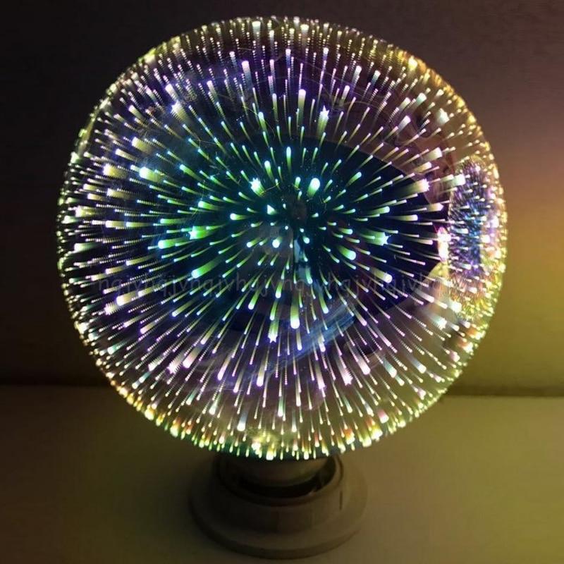 E27 G95 Colourful 3D Star Shine Decoration Multiple Reflection Alluminum Plated Glass JUL04