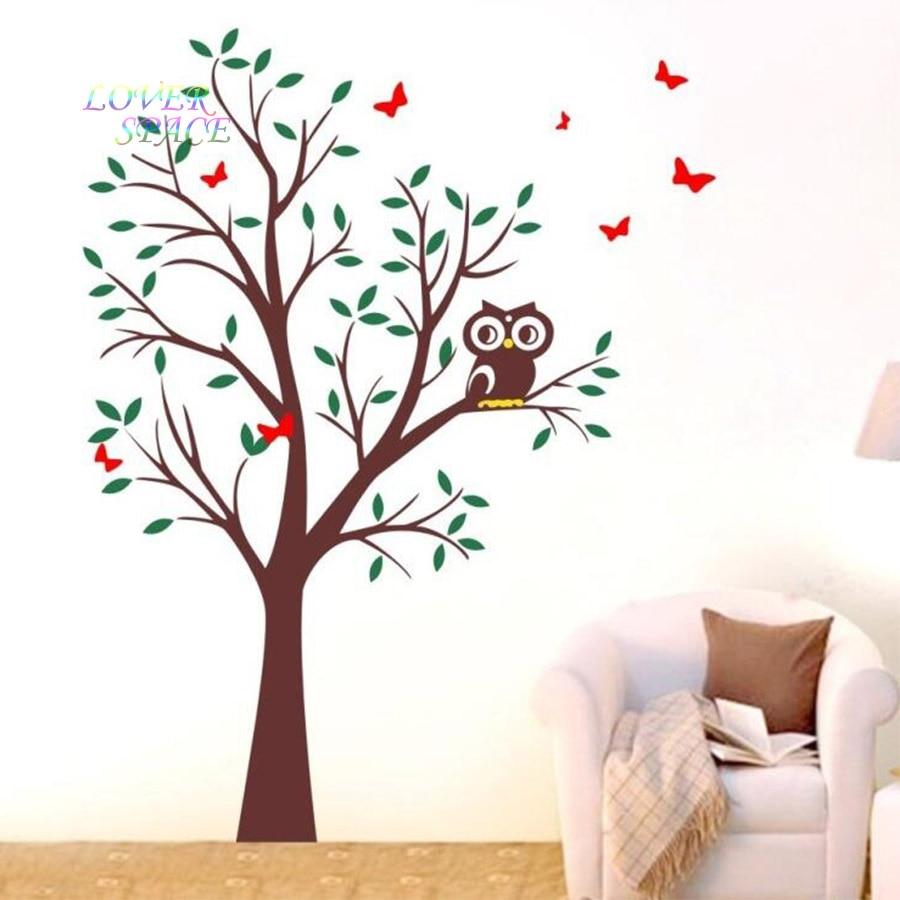Owl Tree Butterflies Wall Art Stickers Vinyl Decal Home