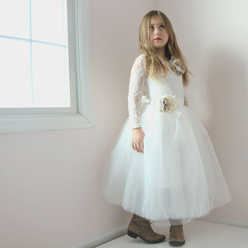 Long Sleeve Flower Girl DressLace Leotard Tulle Tutu Family Matching Clothes Ivory A-Line Mother Daughter Dresses long sleeve flower girl dresslace leotard tulle tutu family matching clothes ivory a line mother daughter dresses