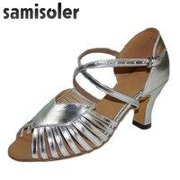 Samisoler 2018 New Latin Dance Shoes Salsa Woman Satin Soft Bottom Fashion Dance Sandals Rhinestone Ballroom Shoes