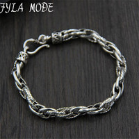 18 7MM 100 Real Pure 925 Sterling Silver Bracelets For Women Men Fine Jewelry Vintage S925