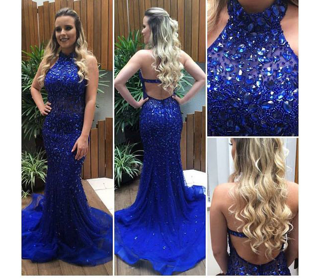 Luxury Beaded Crystal Mermaid   Prom     Dresses   2019 vestidos de fiesta de noche Open Back Sexy Halter Imported Party   Dress